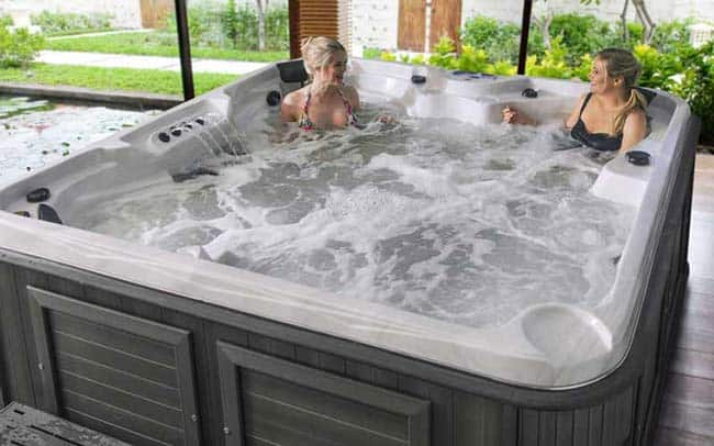 Women relaxing in the hot tub