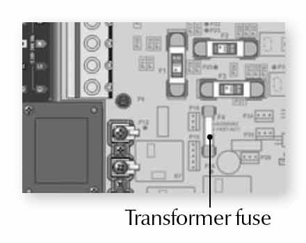 verify the transformer fuse • replace transformer fuse if neccessary • if  problem persists, replace spa pack