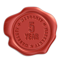 stamp with information for 5 year warranty