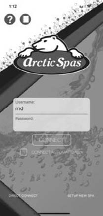 Login page of an arctic spa app