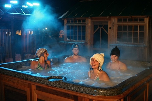 4 person in a hot tub