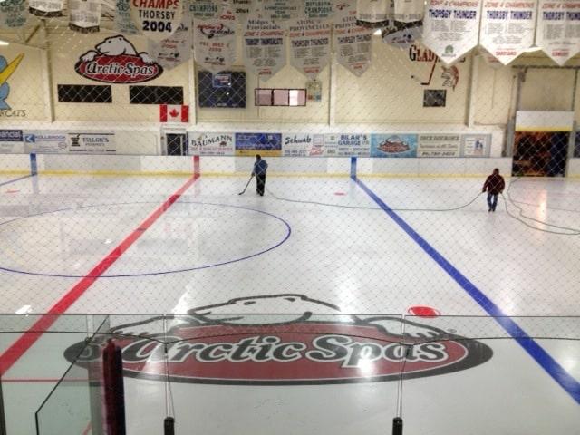 Arctic Spas logo on the rink ice