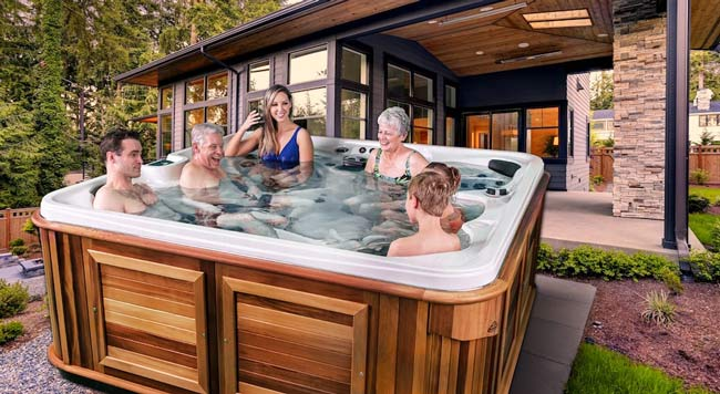 Family relaxing in a hot tub.