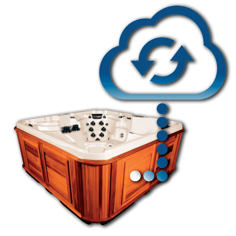 Side view of the hot tub with a cloud