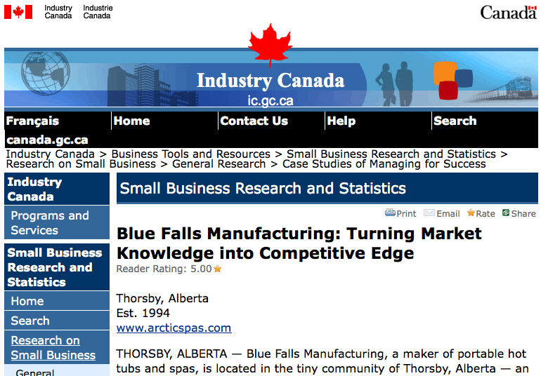 Arctic Spas on Industry Canada site