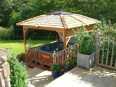 An Arctic Spa under a gazebo