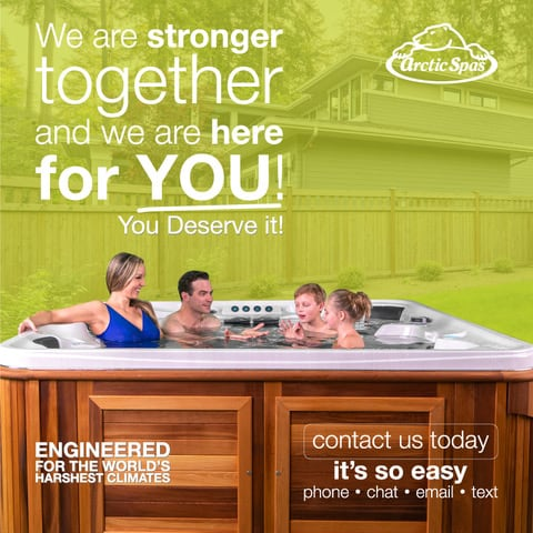 A poster with a happy family in the hot tub.