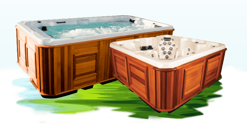 A graphic of a hottub and a swim spa