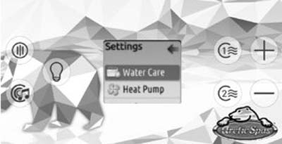 Classic series control panel showing a Water Care option under the Settings