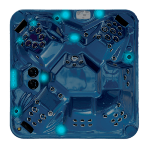 Top view of a hot tub with Family Lights  turned on