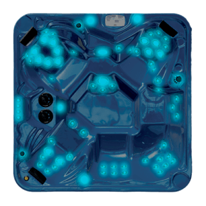 Top view of a hot tub with Ultimate Lights  turned on