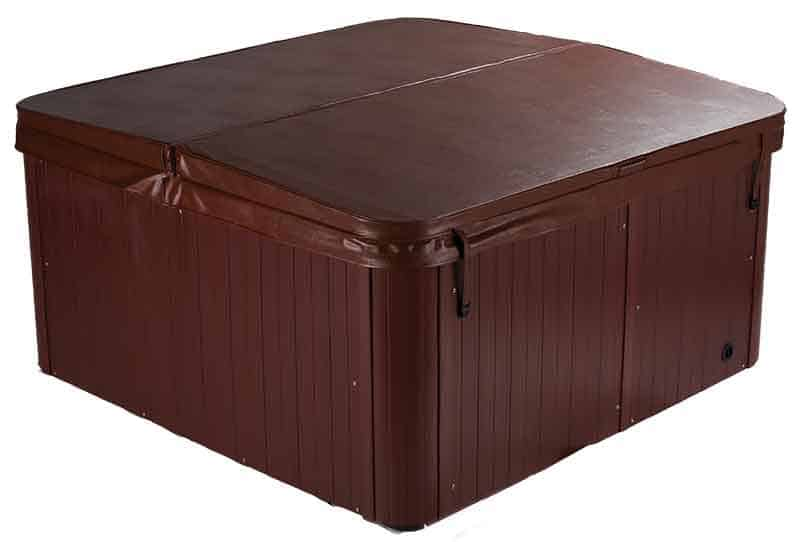 A brown cover on a hot tub
