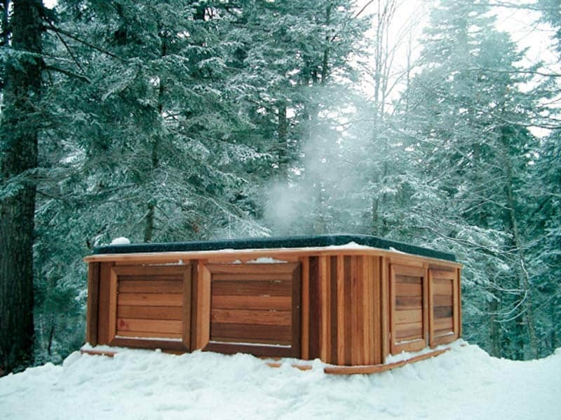 Side view of a hot tub with western cedar cabinet in a forest